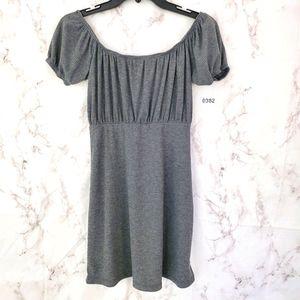 LULU'S Gray Off the Shoulder Dress Ribbed Mini Sm